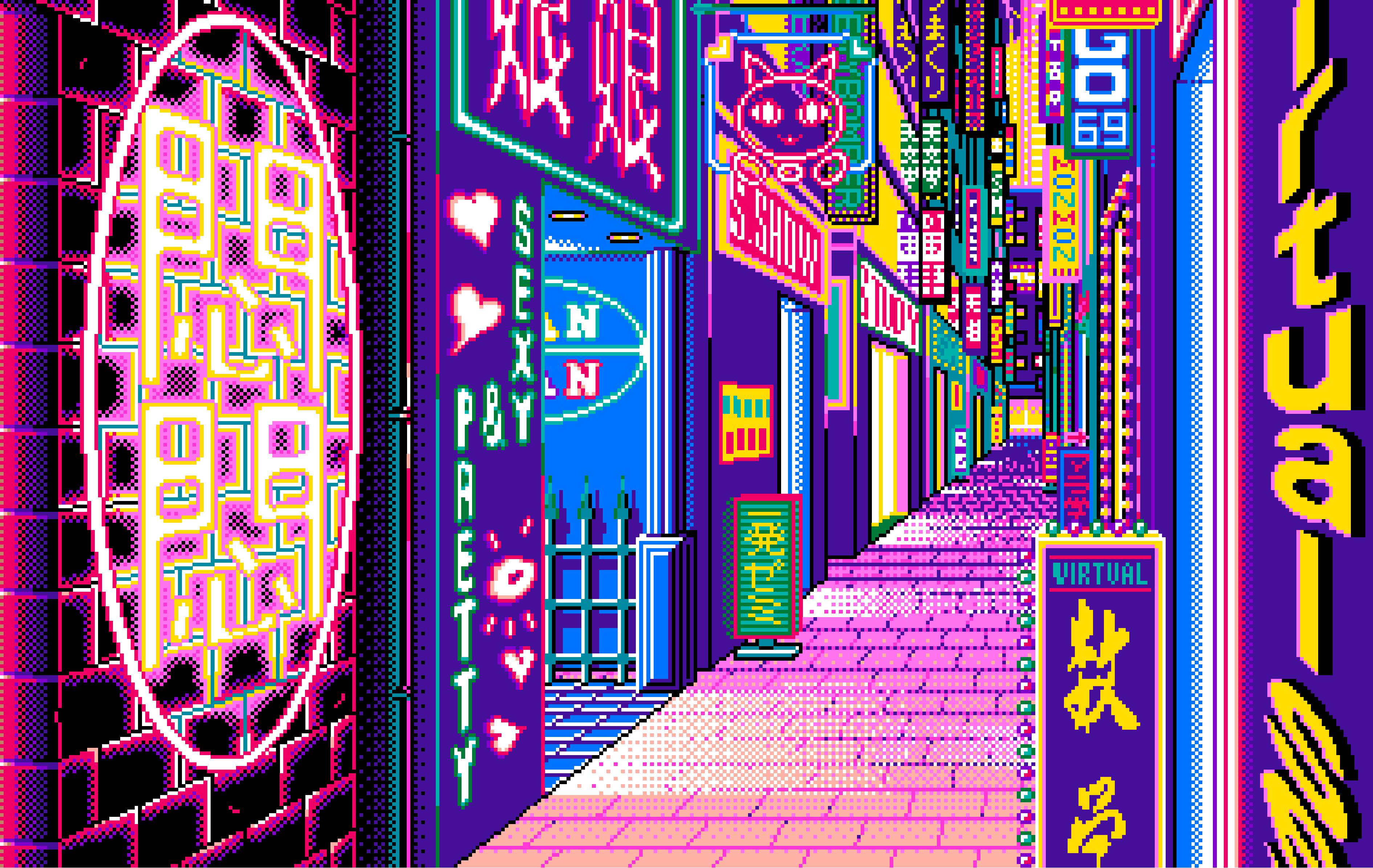 This gif has everything glitch pixel art graphic design vaporwave - Painting Art