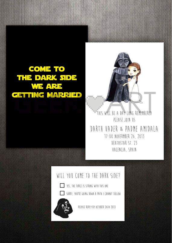 printable star wars wedding invitation and rsvp by geekandart,