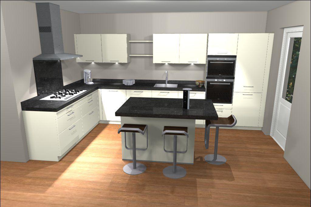 Ontwerp van keuken met kookeiland eiland keukens pinterest spaces - Keuken klein ontwerp ruimte ...