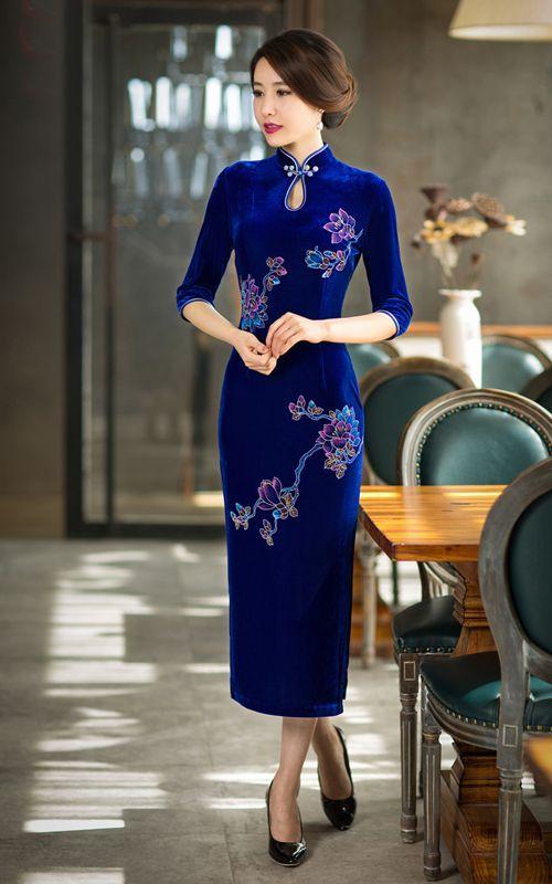 9c6af513e249 Hand painted floral sapphire blue velvet cheongsam 3 quarter sleeve  traditional Chinese mandarin collar dress QiaoQi-15198 007