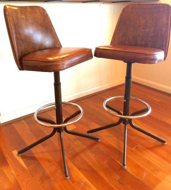 Pair Mid Century Modern Vintage Swivel Bar Stools
