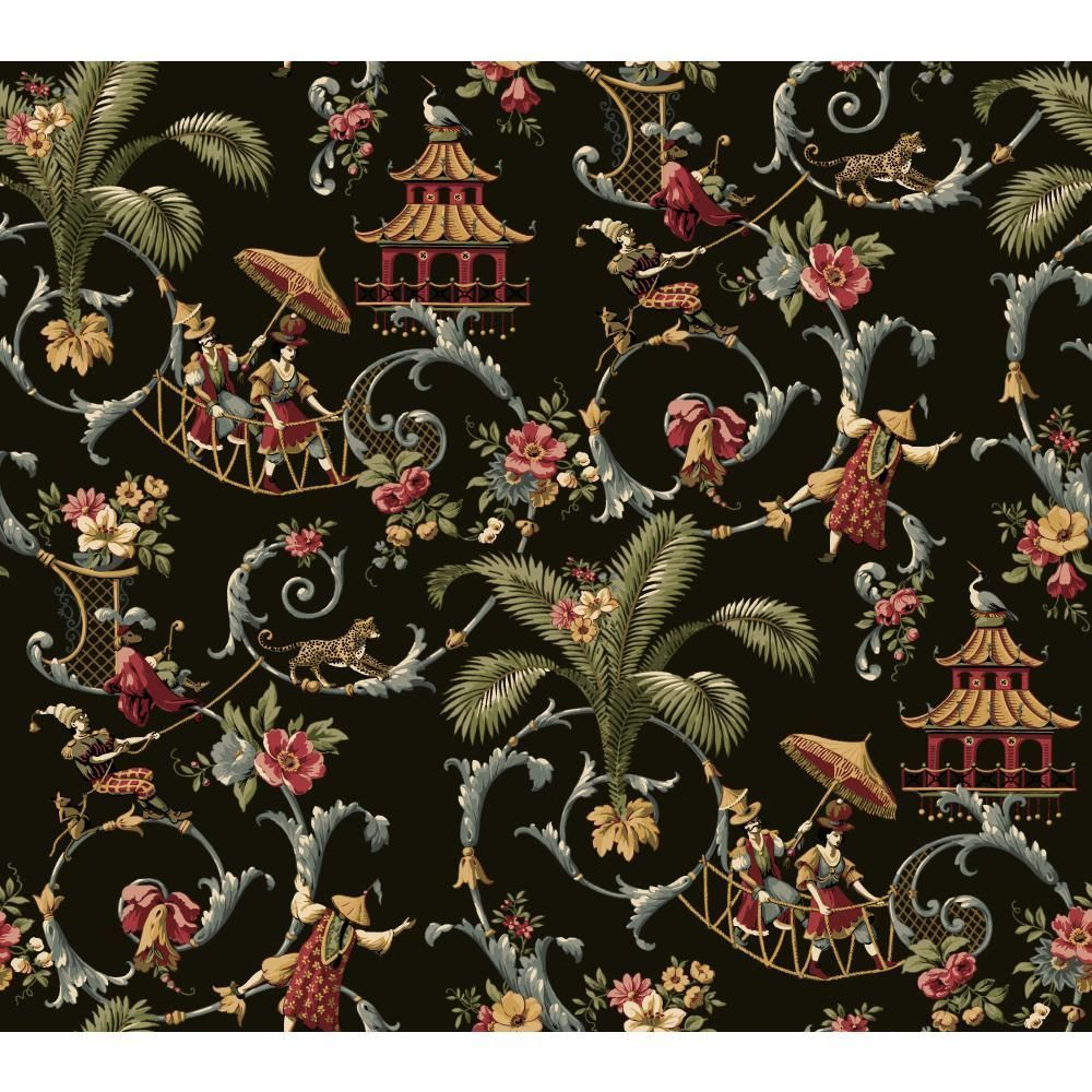 East Of The Moon Night Black Multicolored Aisan Toile Waverly Fabric