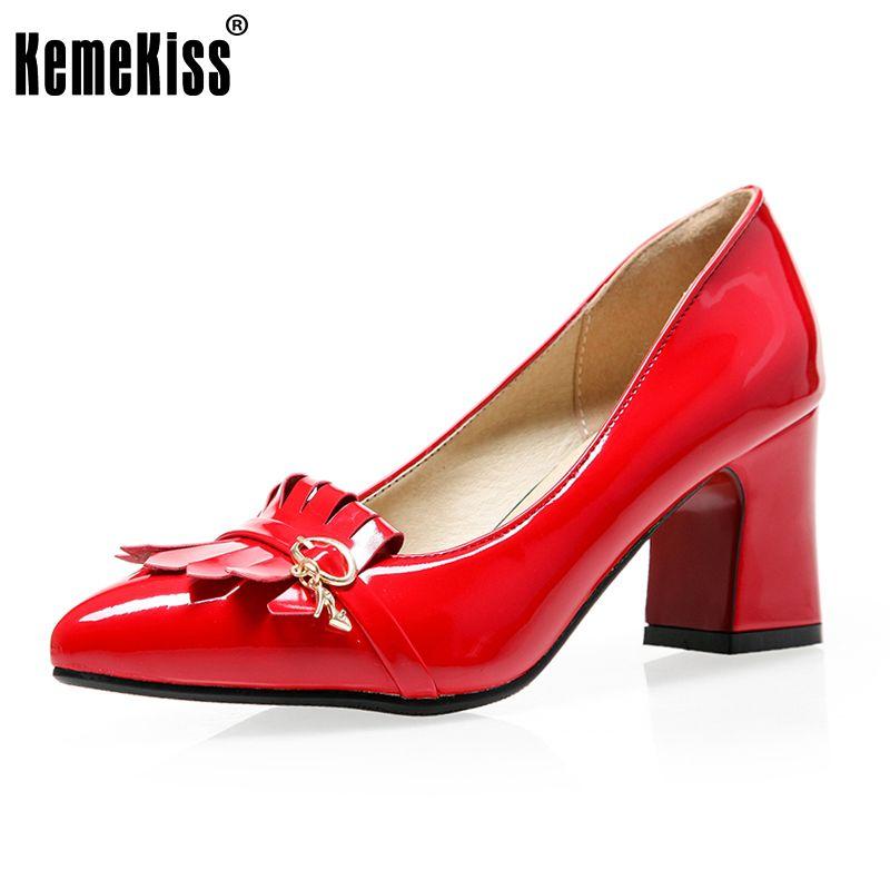 KemeKiss Size 33-43 Sexy Women Thick High Heel Office Pumps Women Metal  Tassels Pointed 818cfe53ac28
