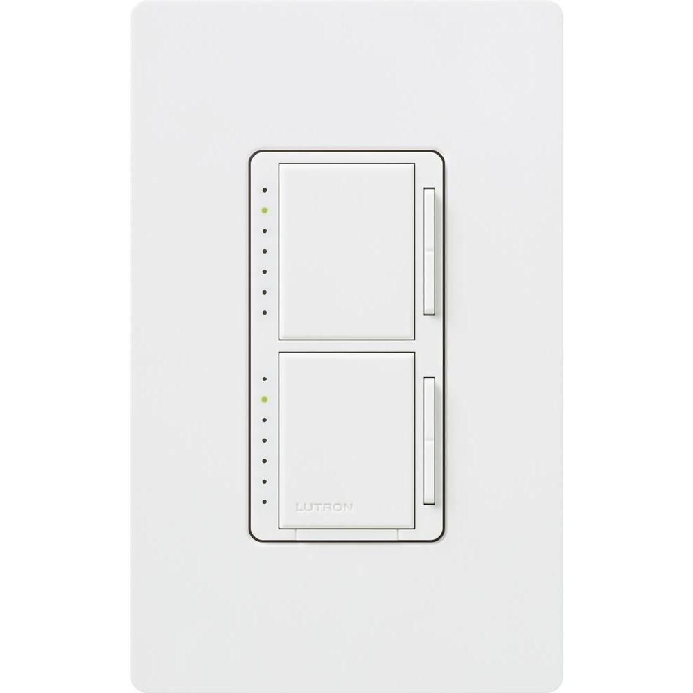 Lutron Maestro 300 Watt Single Pole Dual Dimmer With Wall Plate