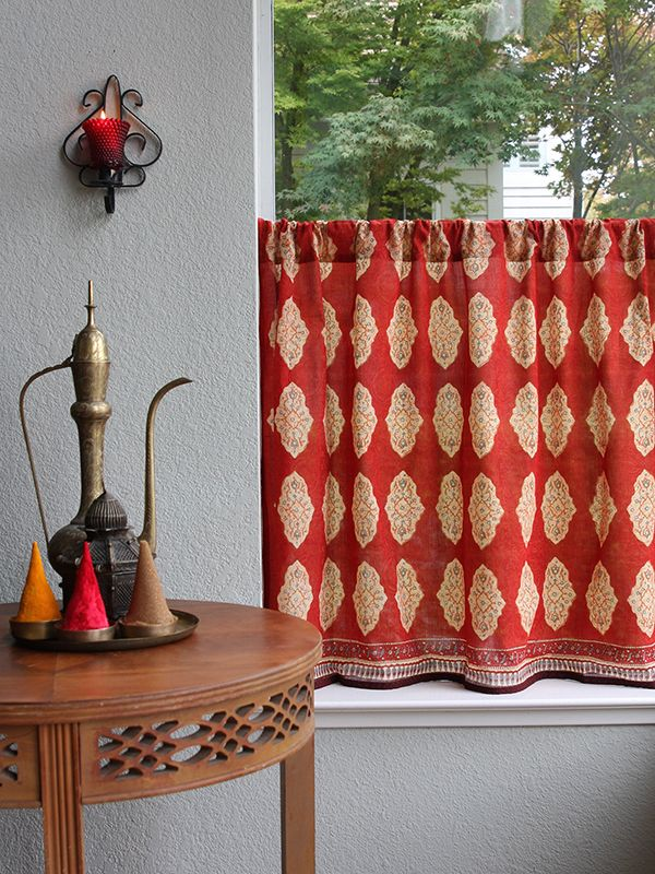 Magnificent Spice Route Red Orange Moroccan Indian Kitchen Curtain Interior Design Ideas Clesiryabchikinfo