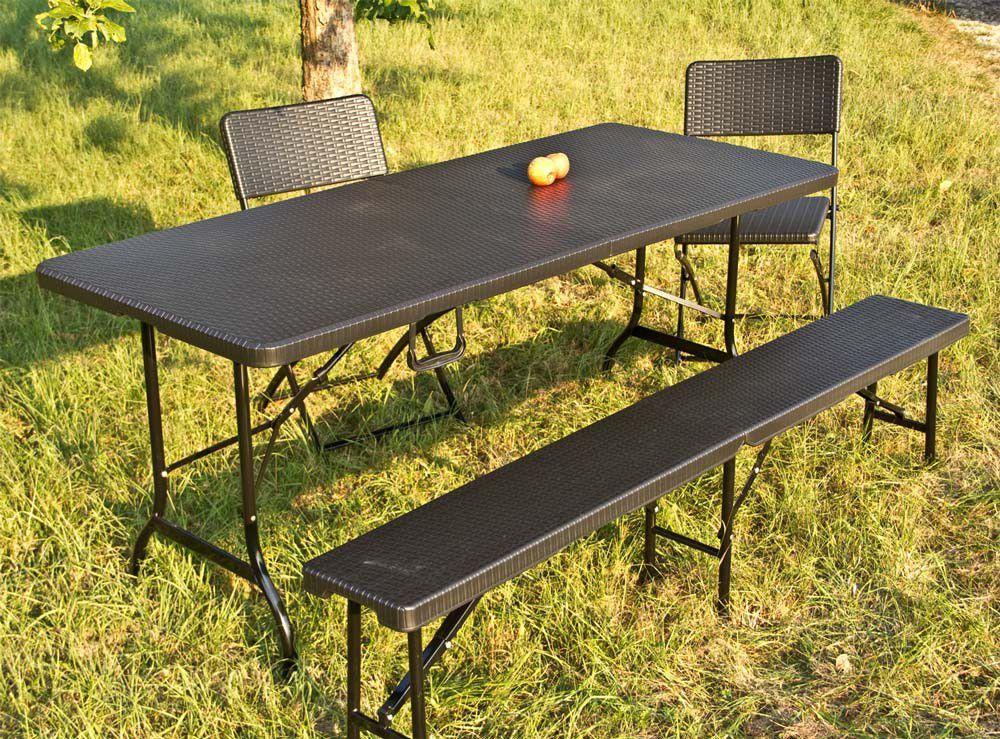 Sitzgarnitur Rattan Optik 1 Tisch 8 Stuhle Schwarz Klappbar