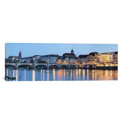 East Urban Home Panoramic Mittlere Rheinbrucke, St. Martin's Church, River Rhine, Basel, Switzerland Photographic Print on Canvas Size: 12