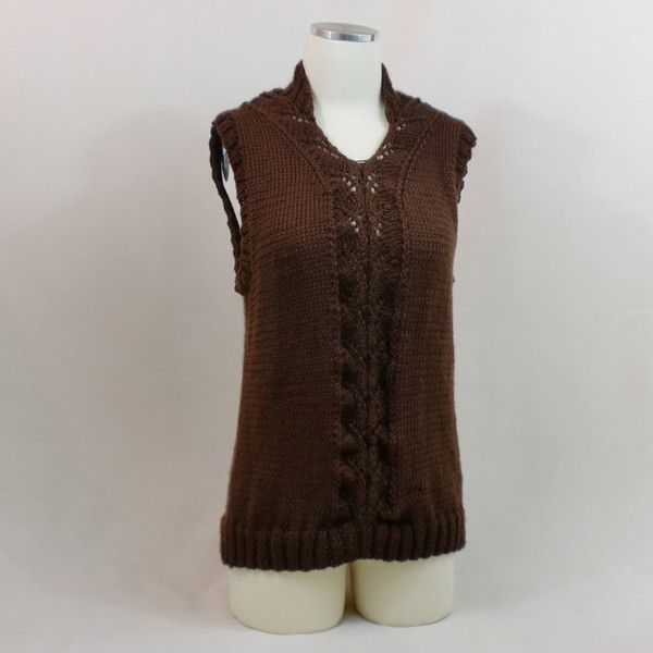 Brown Knit Tank Top Chocolate Lace Sweater Vest Loose Sleeveless v ...