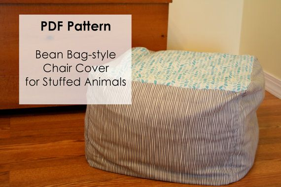 PDF Pattern for Bean Bag Chair-style Cover.  Organization and storage for stuffed animals and blankets! #PDFPattern #DIY #Sewing