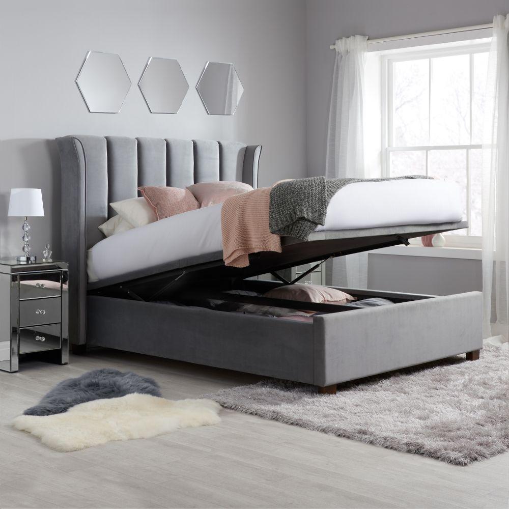 Fenton Grey Velvet Fabric Ottoman Bed Frame 4ft6 Double In 2020