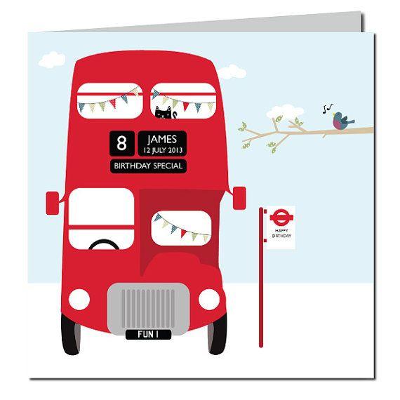 Carte Anniversaire Londres.London Bus Carte Danniversaire Clin Doeil De Carte Carte