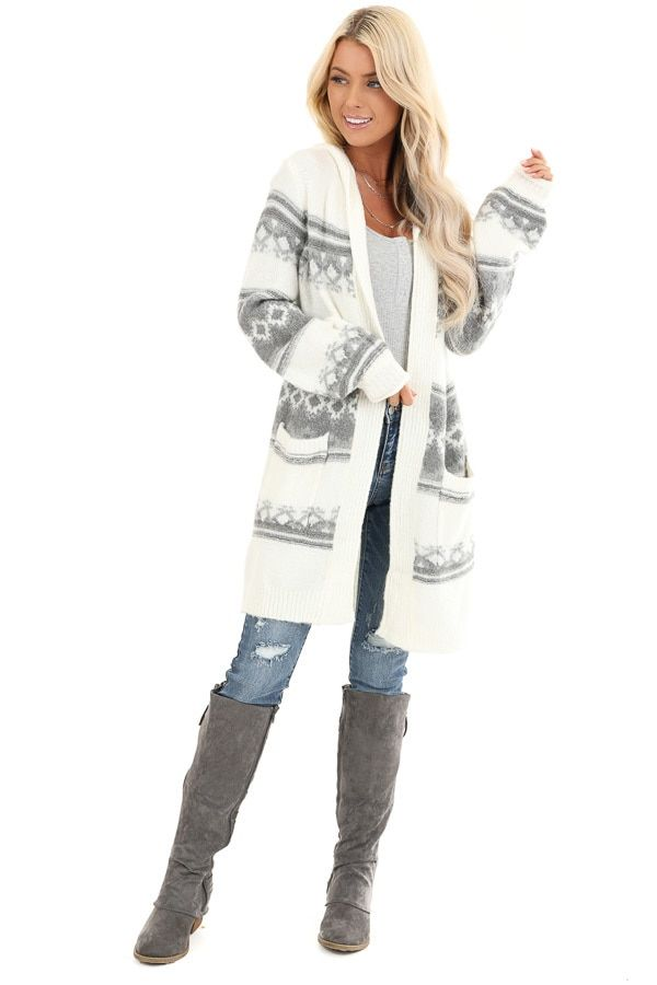 Cream and Grey Aztec Print Hooded Open Front Cardigan #aztec