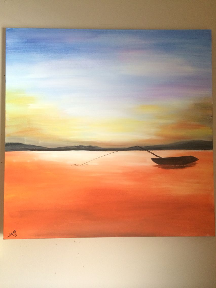 """A Day on the Lake""  This is a painting I did for our camper trailer. A simple acrylic painting that is a reminder of the peace and tranquility you feel when out on the water."