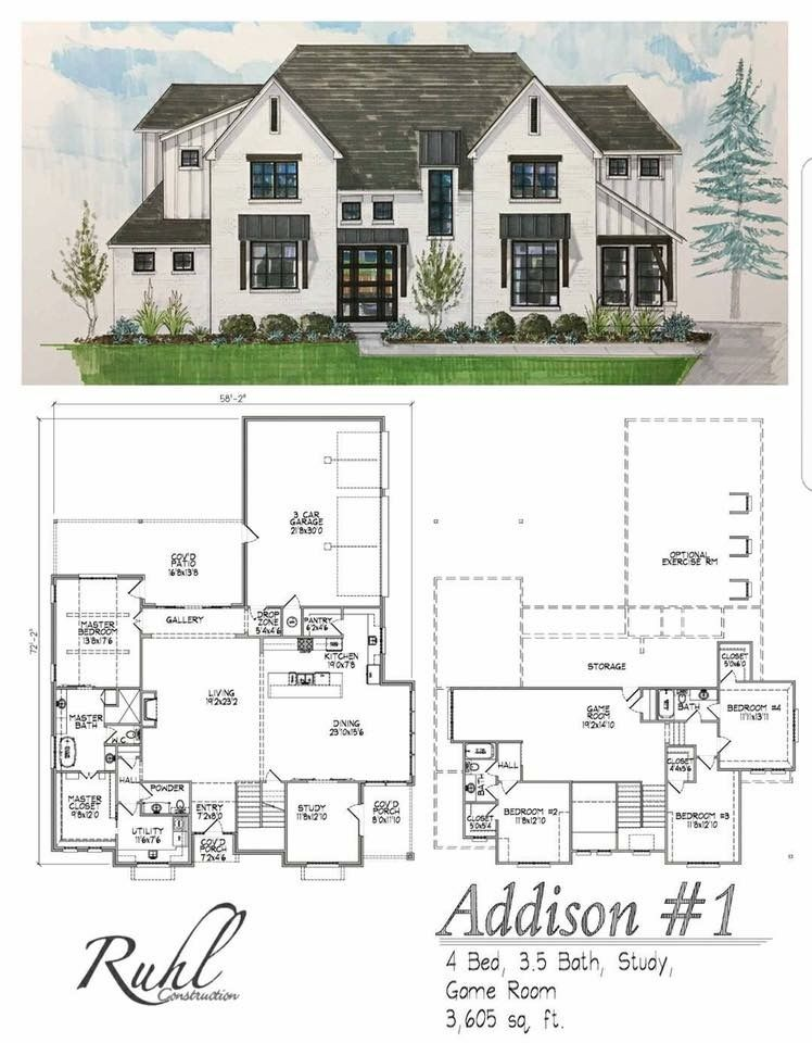 Love Bottom Floor And Outside Look Just Make Everything On One Floor Farmhouse Layout Modern Farmhouse Plans House Plans Farmhouse