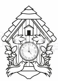 Cuckoo Clock Template Clock Drawings Clock Painting Cuckoo Clock