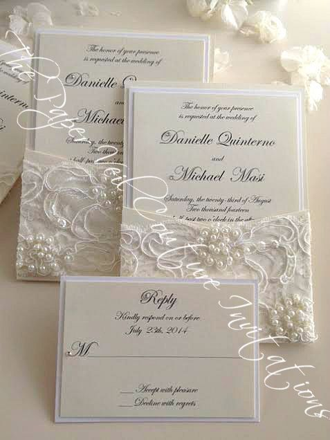 Gia   Vintage Pearl And Sequin Lace Couture Panel Pocket Wedding Invitation  W/ RSVP Card   Cream And Ivory