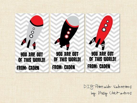 Boy Valentine Cards Rocket Space Customized By Busychickadees