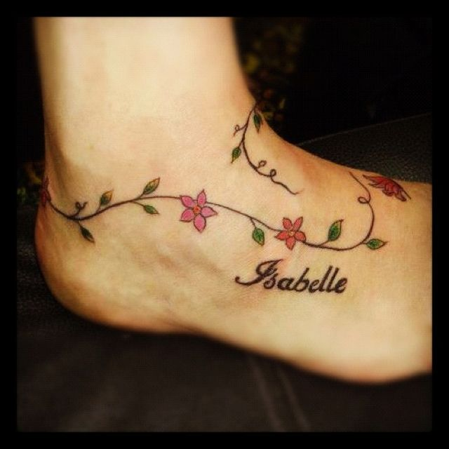 Flowers And Vine Anklet Tattoo Vine Tattoos Foot Tattoos Anklet Tattoos