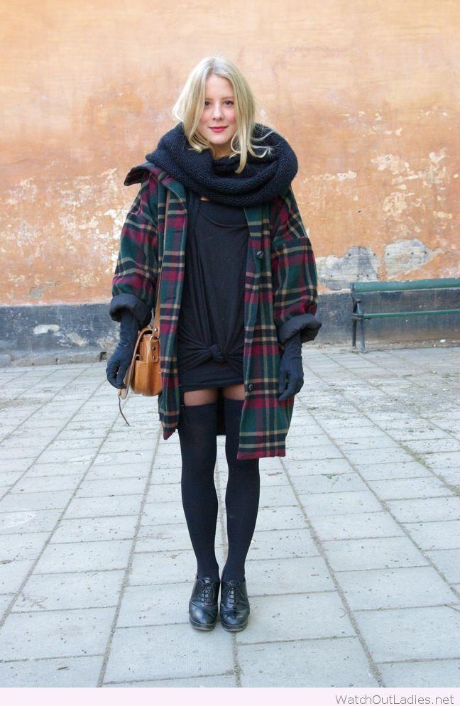 Plaid coat and black dress