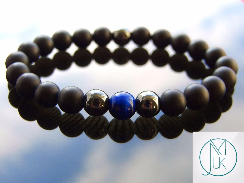 Lava//Blue Tiger Eye Natural Gemstone Bracelet Beaded 6-9/'/' Elasticated Healing