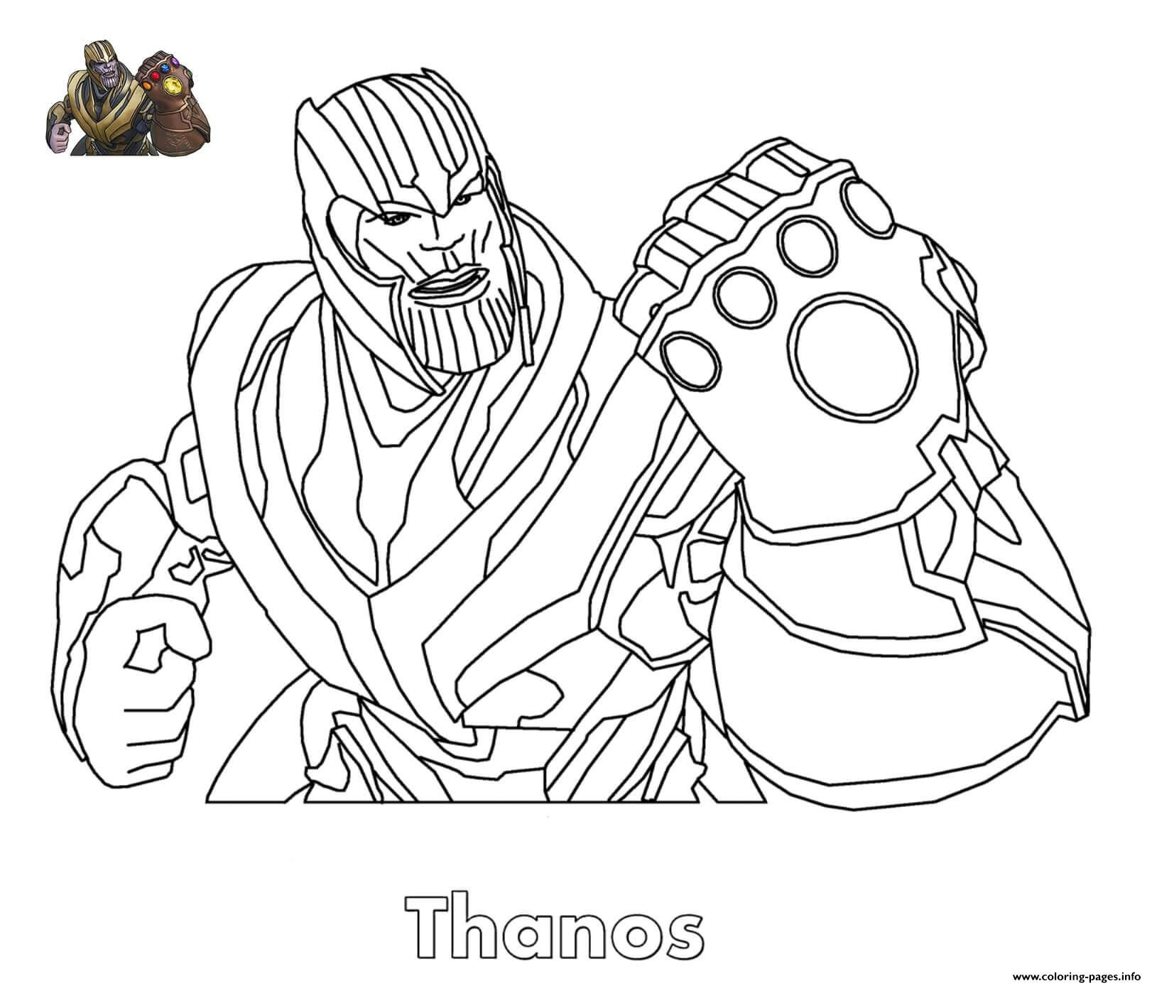 Superhero Thanos Coloring Pages: Print Thanos Fortnite Coloring Pages