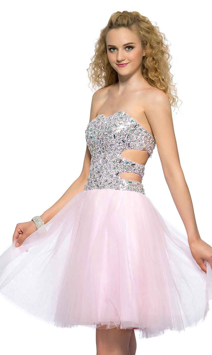 Cut Out Sweetheart Glitter Short Pink Prom Dresses UK KSP394 | uk ...