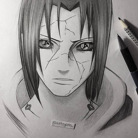 Simple Itachi Sketch I Was Reading Vol 61 That My Sister Gave Me Yesterday For My Birthday And I Just Couldn T Re Naruto Sketch Anime Naruto Naruto Tattoo