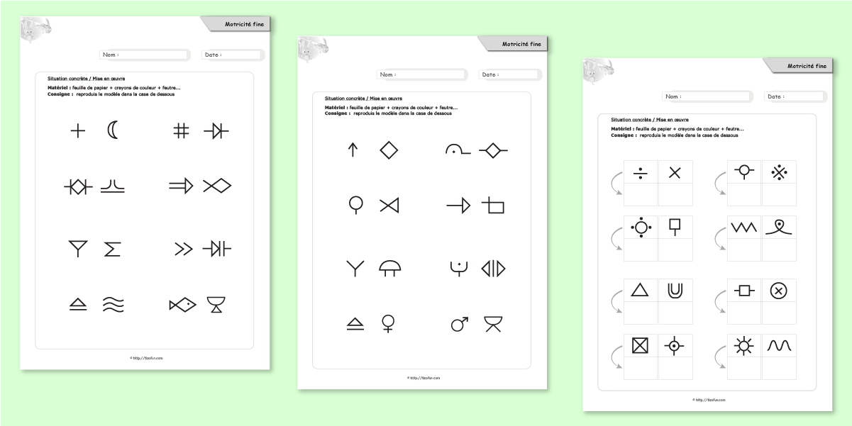 graphisme ps ms gs cp motricit fine reproduire les symboles imprimer reproduire les symboles. Black Bedroom Furniture Sets. Home Design Ideas