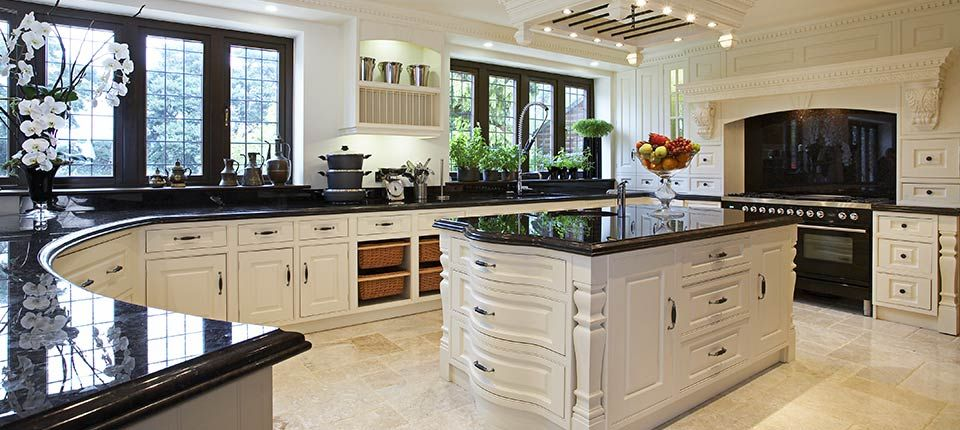 Modern Style Kitchen cream bespoke kitchen in a traditional in-frame raised panel style