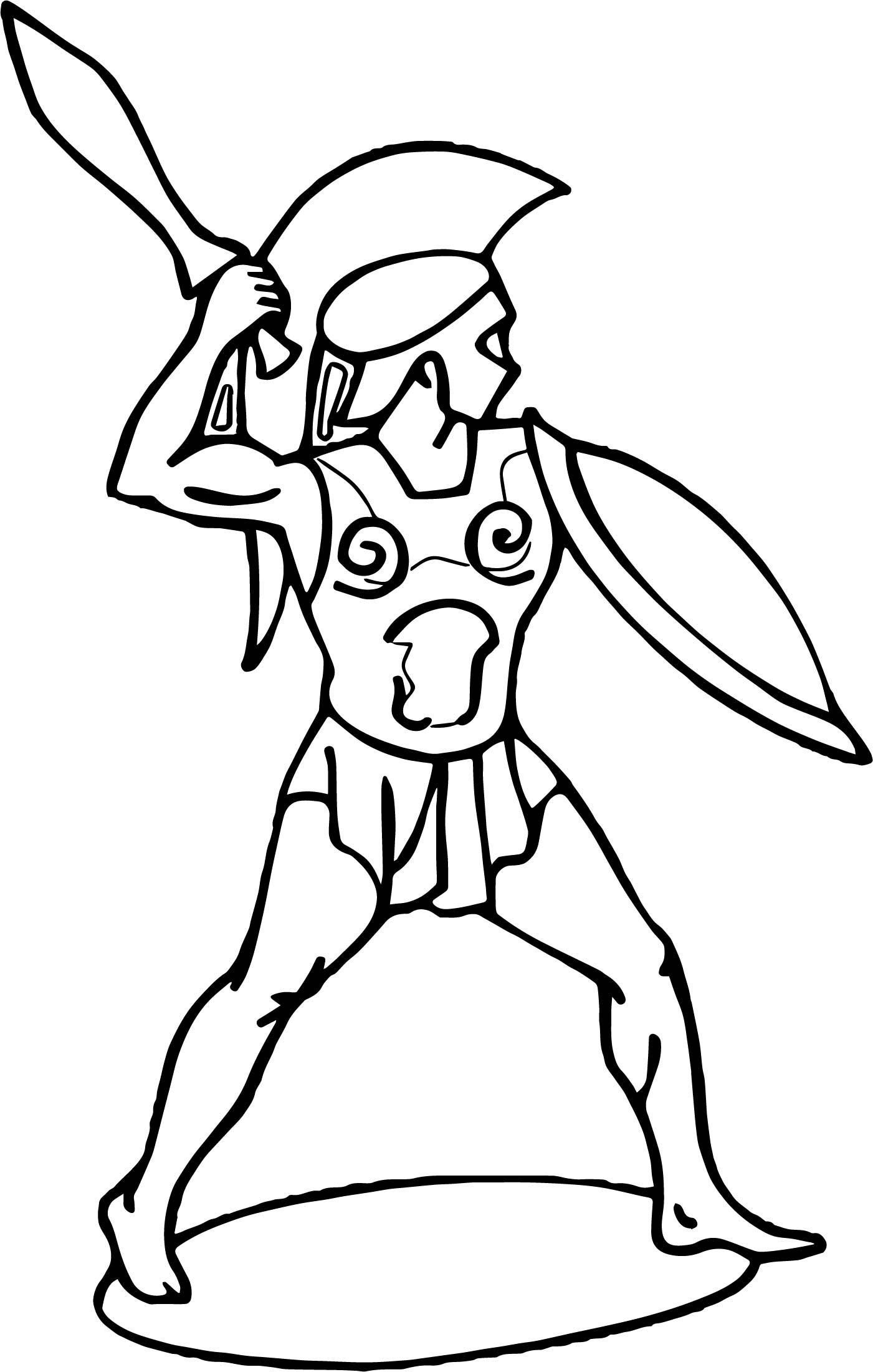 Awesome Roman Soldier Warrior Coloring Page Warrior Drawing