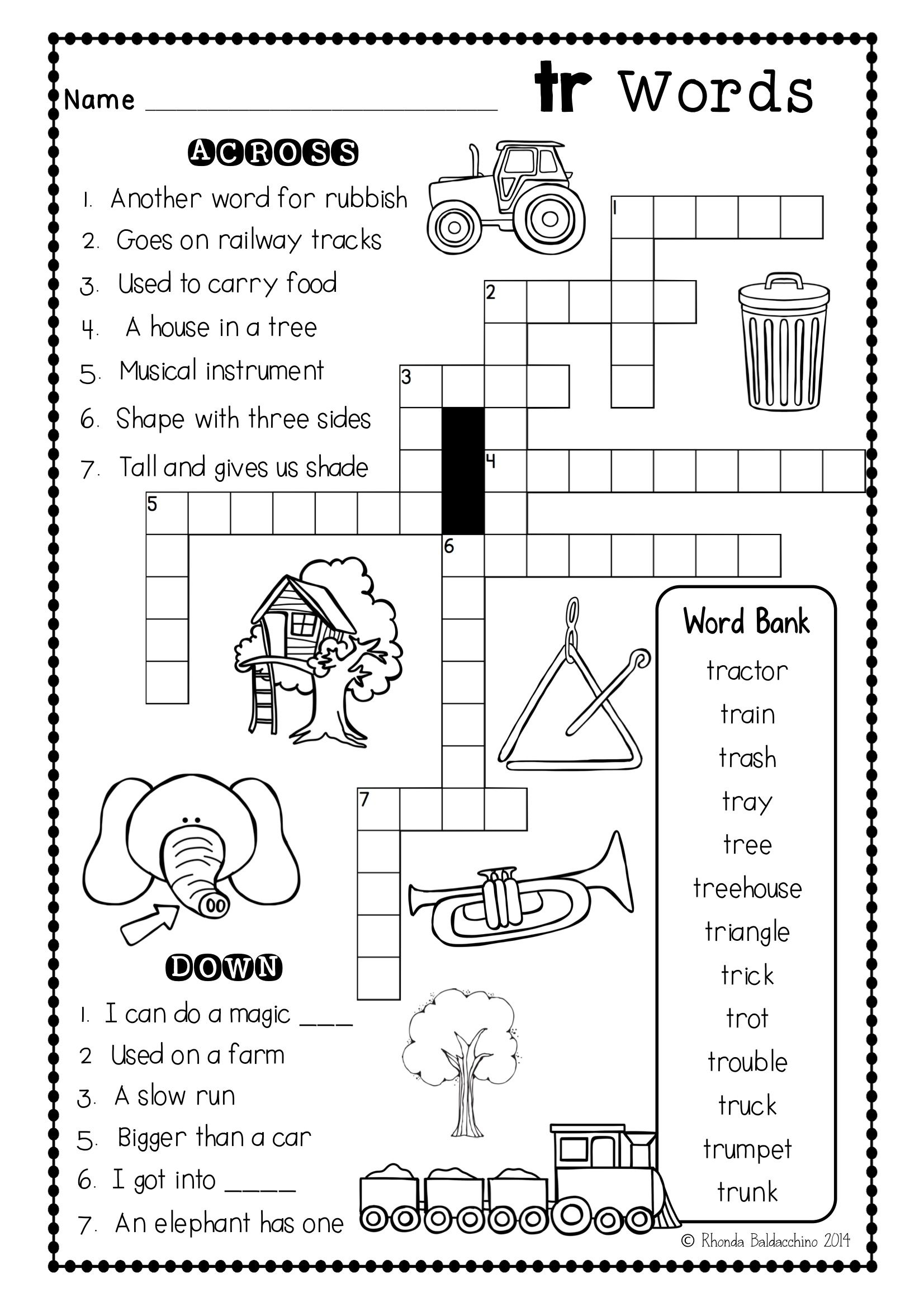 small resolution of These are Fun blends crossword puzzles to supplement any phonics program   Blends  worksheets
