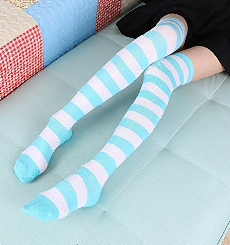 bb119bec1 Chalier 3 Pairs Womens Long Striped Socks Over Knee Thigh High Socks  Stocking at Amazon Women s Clothing store