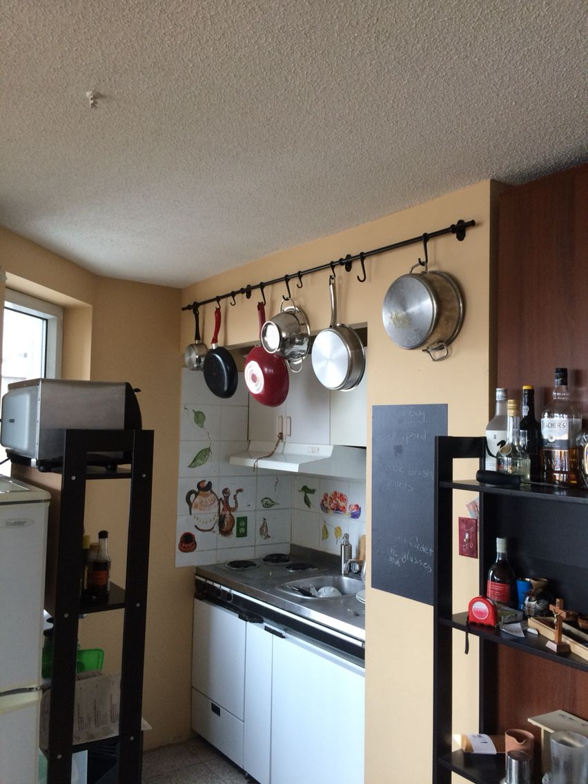 Hanging pots in my tiny kitchen ikea fintorp rail and Ikea hanging kitchen storage