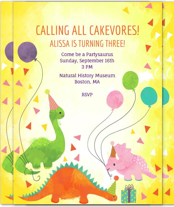 Dinosaur Birthday Invitation Templates Free Sample Example - Birthday invitation templates to download free