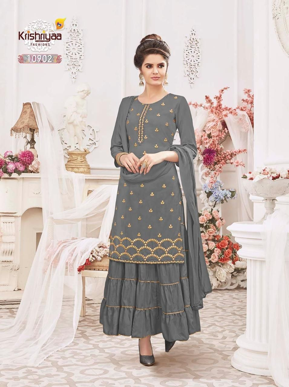 a35d4b64e Buy Designer Krishriyaa Magnifique Vol-3 Gown with Dupatta Kurti ...