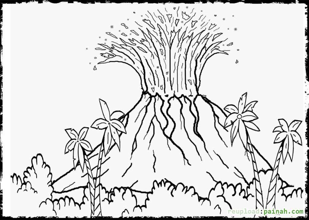 Volcano Coloring Pages Free | Dinók/Dinos | Pinterest