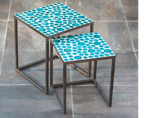 Scandinavian Designs - Outdoor Furniture - Cinum Nesting Tables - Turquoise