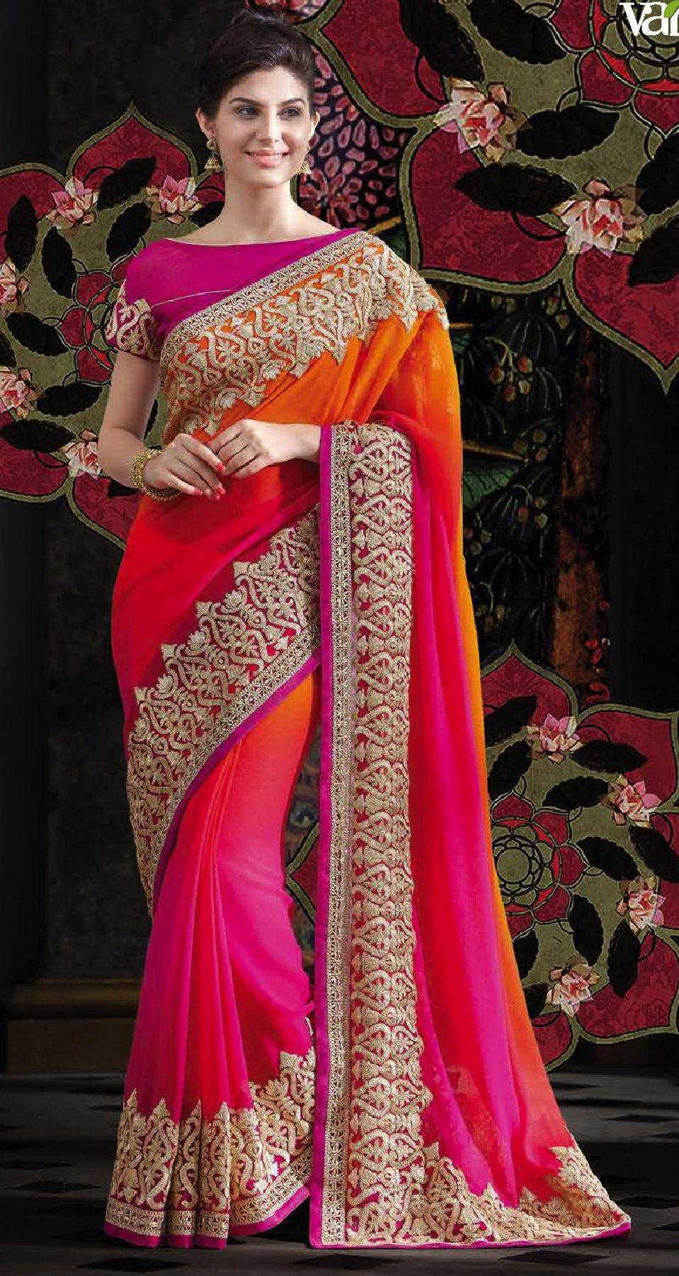 Designer Red Resham Zari Embroidery Bollywood Sari Georgette Wedding Wear Saree