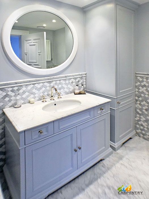 Victorian style vanity unit with marble top, sink and