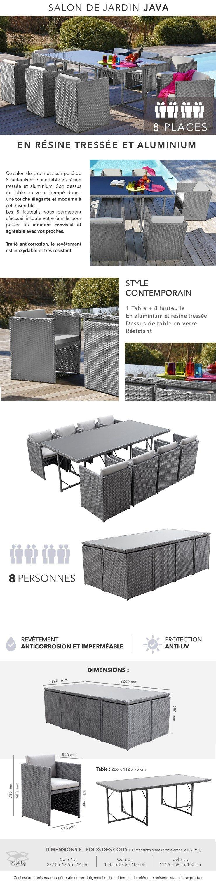 JAVA Salon de jardin 8 places en résine tressée et aluminium ...