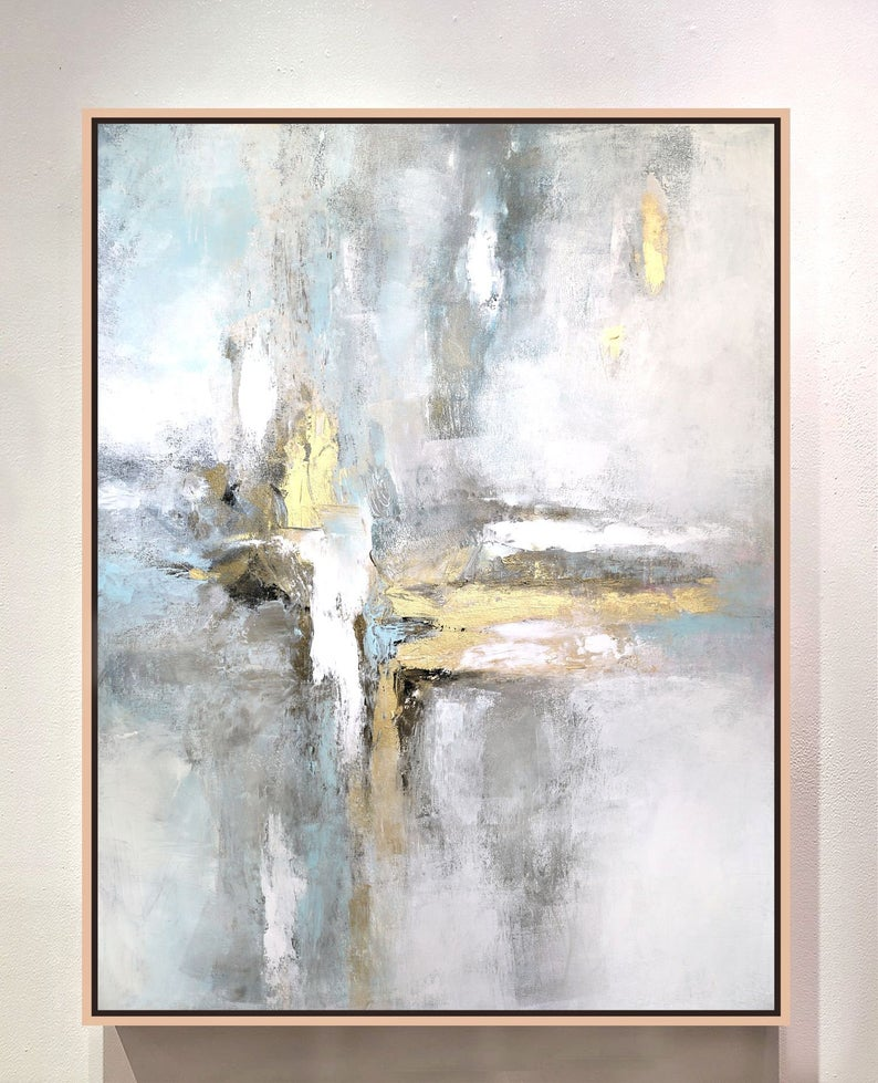 Large Wall Art Gray Abstract Painting White And Gold Acrylic Etsy Gold Abstract Painting Abstract Painting Abstract Painting Acrylic