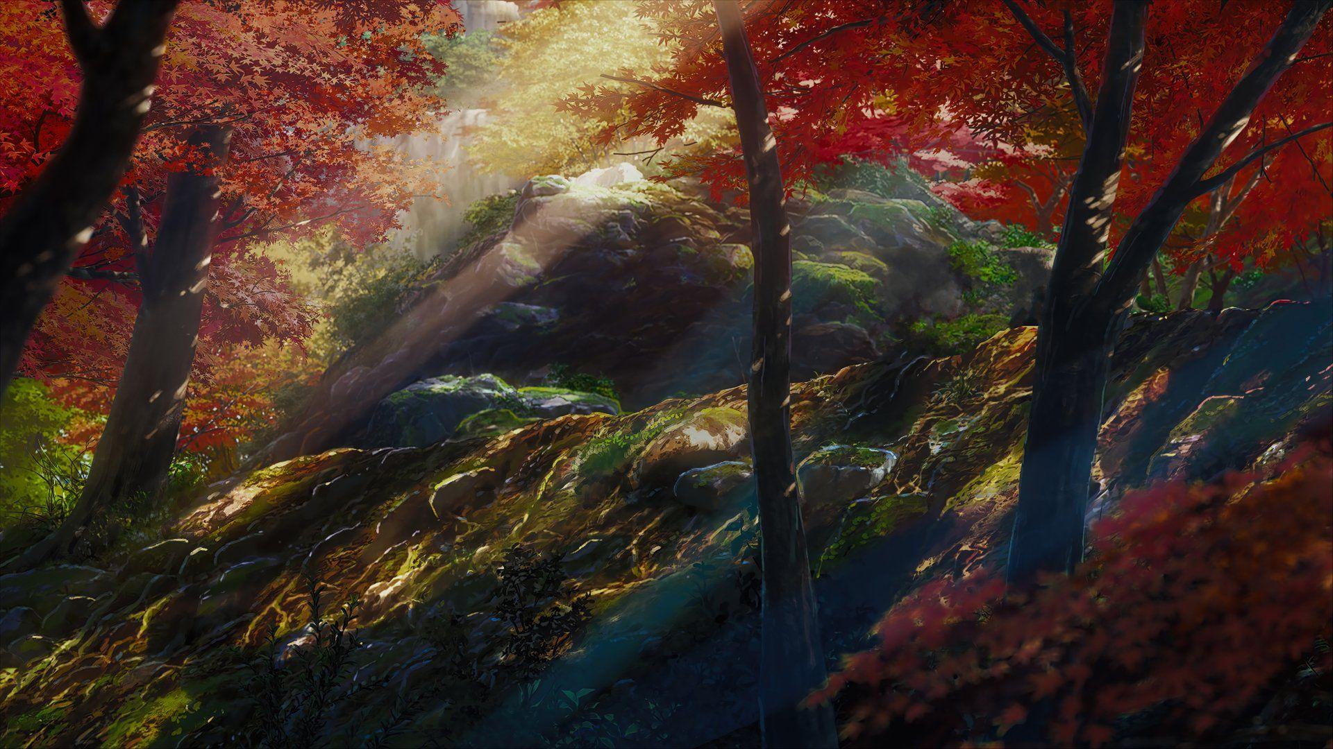 Anime Wallpaper 5120x2880 Your Name Kimi No Na Wa Tree Forest Colorful Anime Scenery Scenery Kimi No Na Wa