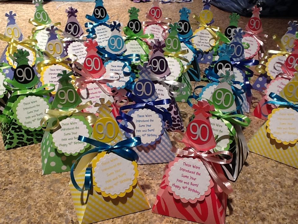 90th Birthday Favors Made With The Cricut Candy Introduced In 1922 Inside Party Hat Box Can Be For Any Age