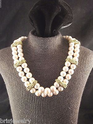 NWT Vintage Monet Double Strand Faux Beige Pearl Gold Tone