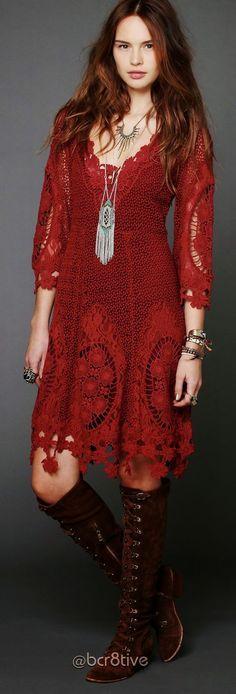 1dc674dcb4 Red Lace BoHo Dress