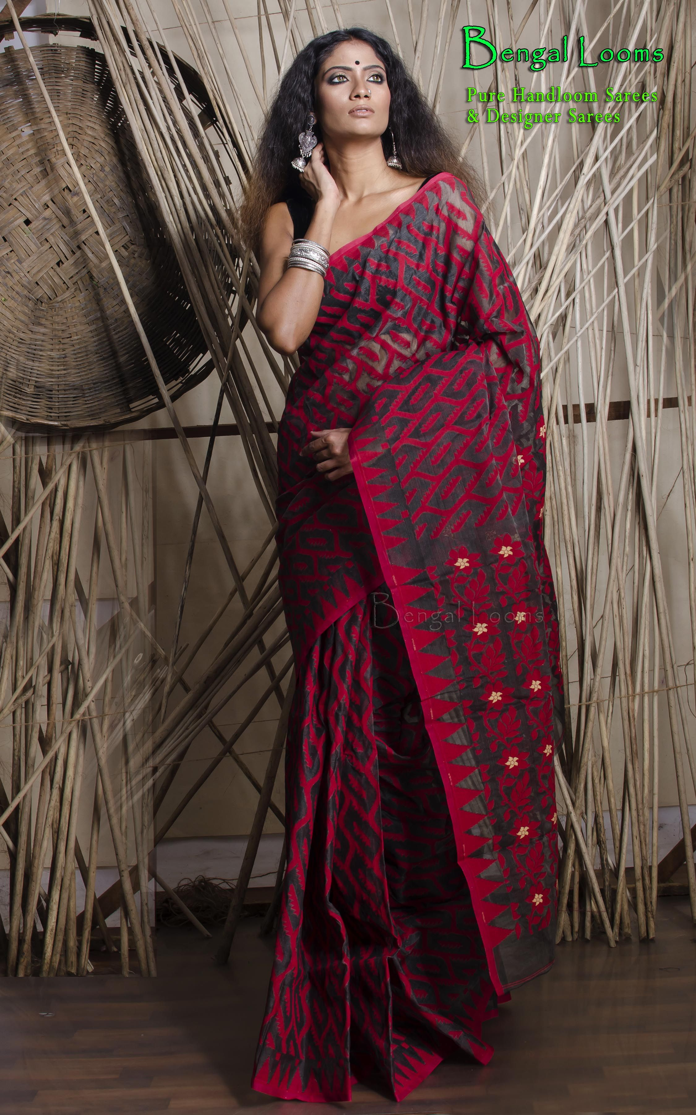 ffdd5784d0 Beautiful hand work woven Karat Dhakai Jamdani saree in Charcoal Black and  Red.