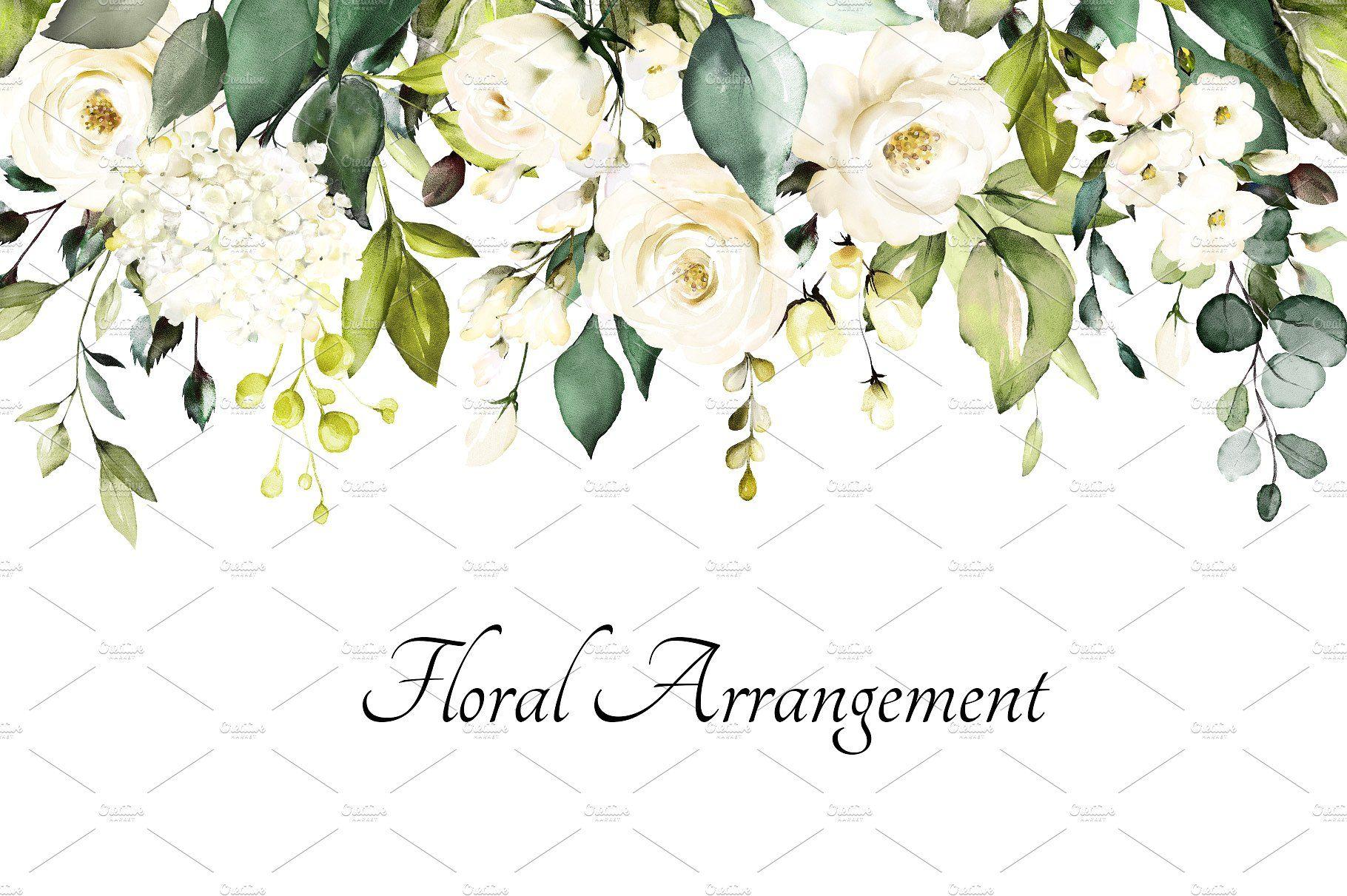 White Roses Watercolor Floral Set Tags Para Casamento Festa