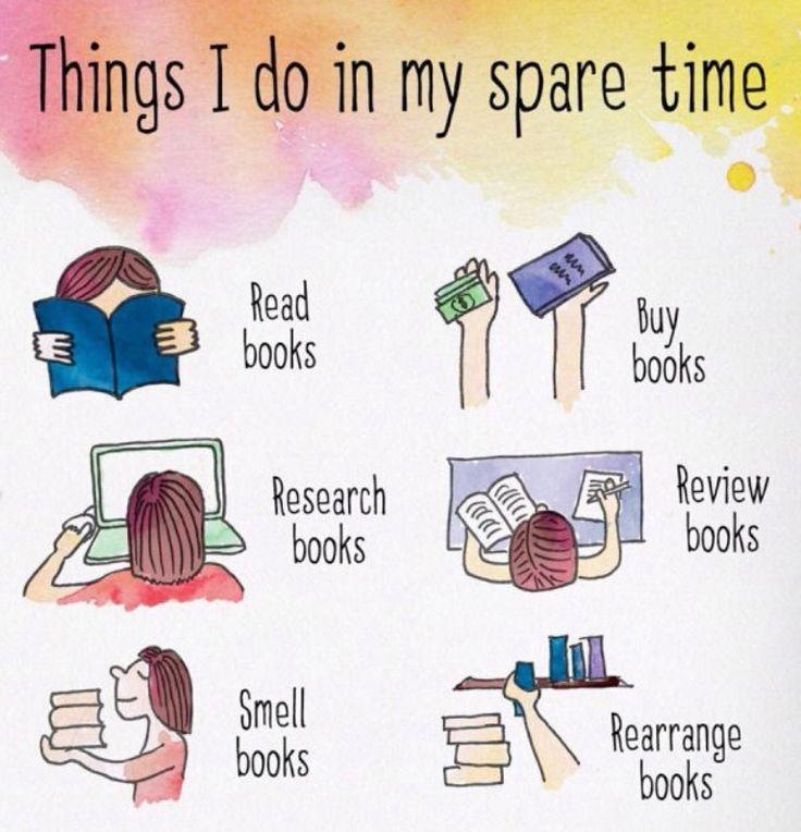 Was Booklovers in ihrer Freizeit machen: Bücher lesen, Bücher kaufen, Bücher recherchieren, Bücher bewerten, an Büchern riechen, Bücher neu arrangieren. Und ihr so?