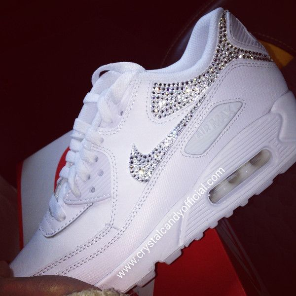 5634267095c Crystal Nike Air Max 90's in White (backs & ticks) | my style ...