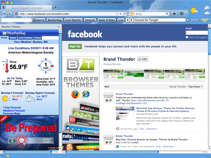 Weather firefox theme and weather add-on  Check the local